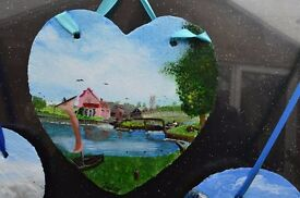 Hand painted pictures on 6 inch and 8 inch slates