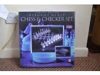 Beautiful glass chess / chequers set