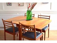 Vintage G Plan drop leaf table and 4 Danish style teak chairs. Delivery. Modern/mid century.