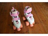 SFR Storm Adjustable Quad Roller Skates - Pink and White - Infant UK Size 8-11