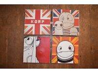 4 street art canvases by artists Korp, 4available individually