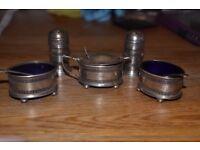 Gift idea! Antique solid silver 7 piece cruet set