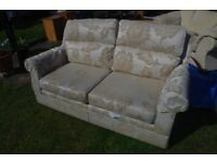 Cream/Beige with contrast leaf pattern 2/3 Seater Sofa (FREE local delivery)