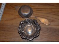 Antique Vintage Tea Strainer and stand. Sterling Silver
