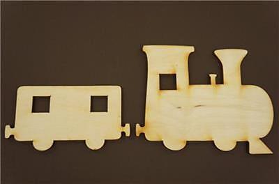 1x Dampflok Zug mit 6 Anhänger  Form Holz Basteln Malen Dekoration Wohnen x31