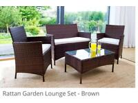 4PC Rattan garden furniture set - colour brown - brand new never used
