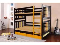 CHRIS Double Wooden Bunk Bed for Children/Kids made of Solid Wood