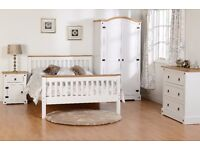 New White or Grey Corona Mexican bedroom from £59 beds bedsides wardrobes chests dressing tables