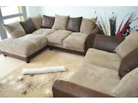 Dylan Left Hand Corner and 2 Seater Fabric + Leather Sofa Range L Shaped Corner Group can assemble