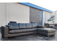 Large Black leather corner sofa DELIVERY AVAILABLE