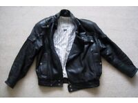 "Motorcycle Jacket - Black Leather Fieldsheer 44"" Chest"