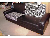 Black & Zebra Print Sofabed