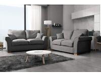 Grey Fabric Corner or 3+2 Sofa Set