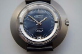 Nivada Ultramatic 36000 Hi Beat automatic mechanical wristwatch -NOS- '70s - Signed Winegartens, Lon