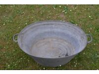 Vintage galvanised small metal bath with handles, ideal for a garden planter/tub or trough