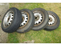 Set of 4 Wheels and Tyres - 175/70 R14 84T - 4 bolt fix type - Vauxhall Combo (Corsa?) - Worn out