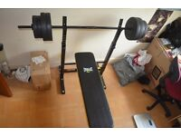 Everlast Folding Weight Bench with 50kg Barbell £65 o.n.o