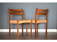 Set Of 2 Vintage Midcentury Danish Teak And Wicker Dining Chairs. Delivery. Modern / Retro.