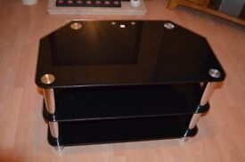 tv unit in smoked glass