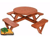 Wooden Garden Bench Round Picnic Table - 8 seats - Varnished Outdoor Barbeque