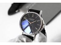 Nomos Glashütte Ahoi Atlantic Watch Warranty Wristwatch Atlantic Blue with Black strap Omega Zenith