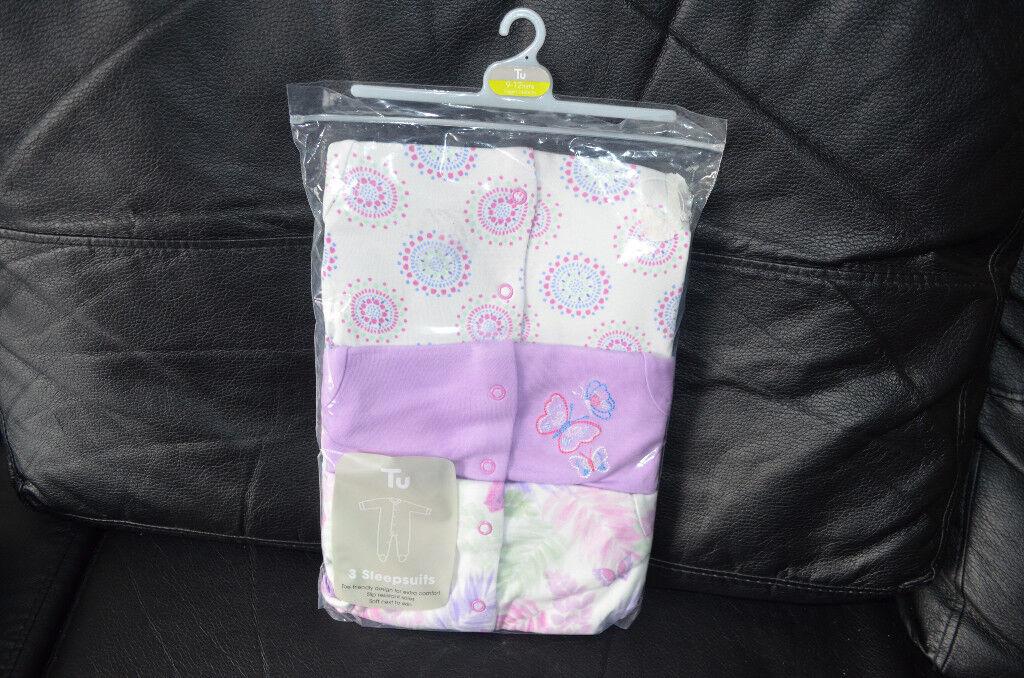 BNWT TU Baby Girl Sleepsuits size 9-12 months