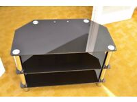 TV stand / Media Cabinet - black tempered glass