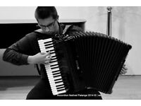 Professional accordionist available for recordings, events, short-long term projects