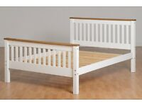 White and pine solid wood double bed