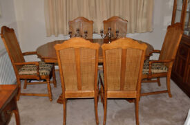 9 piece Extendible Dining Suite - Table, 6 Chairs ( 2 Carvers) & Display Cabinet