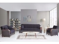 Brand New Persian 3 Seater Fabric Storage Sofa Bed Wooden Arms Sofabed Settee Black Brown Cream Grey