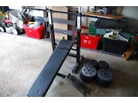 Weights bench with barbell bar, dumbell bars and weights