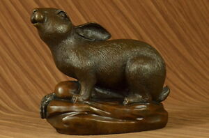 Large Hand Made Maitland Smith Rabbit Hare Bunny Bronze Metal Figural Sculpture