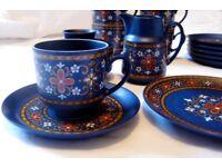 Vintage Retro, 1960s, 1970s, 21 piece tea set, cobalt blue, Winterling Schwarzenbach, Bavaria