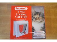 Staywell 4 Way Locking Cat Flap (White) (New)