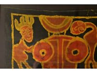 African Art work Oil on canvas signed