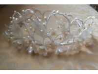 VINTAGE ORANGE BLOSSOM WAX FLOWER BRIDAL HEADDRESS TIARA WEDDING CROWN c.1920 Ivory Pearl Floral