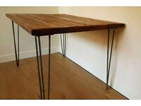 Handmade Reclaimed Scaffolding Table with Hairpin Legs