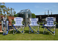 FOUR FOLDING GARDEN CHAIRS IN EXCELLENT CONDITION