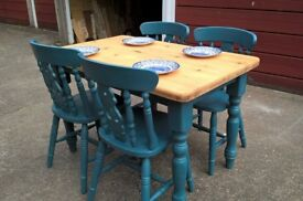 Solid pine dining set with stunning hand painted and waxed Annie Sloan finish.