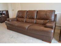 5 Piece Leather Sofa Set – Nevada Brown **USED**