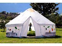 5m in diameter custom-built, steel-framed yurt for performances, workshops or storytelling