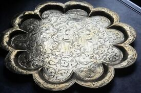 Brass Decorative Tray - Vintage 12' - Indian with ornate hand crafted design