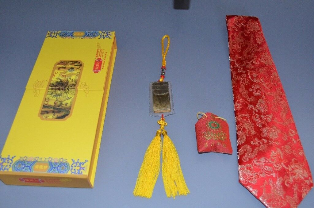 Silk Tie gift setin Leicester, Leicestershire - Silk Tie gift set Chinese good luck charms Handmade wooden lotus carved keyring Red and golden keyring case Golden good luck charm with written ancient Chinese inscription Chinese red silk tie Authentic Chinese silk tie Bought in Shanghai, China Red...