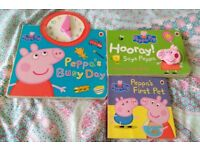 Bundle of Kids / Toddlers Peppa Pig Books - Tell the time Clock, Puppet etc.