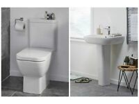 TOILET PAN WITH BASIN AND PEDESTAL
