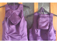 2 Purple Bridesmaid dresses and 2 matching bags