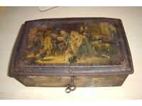 Old decorative tin box with key, a bit battered age unknown. Unusual item.