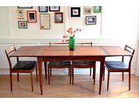 Vintage A. Younger Afromosia extending table and 4 G Plan chairs. Delivery. Danish/Midcentury style.