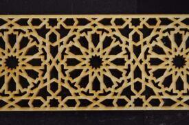 Decorative Moroccan Wooden Panel 90 x 7.9 x 0.3 cm Carving Trim Panel Plaque Beading Dado Pine, WD11